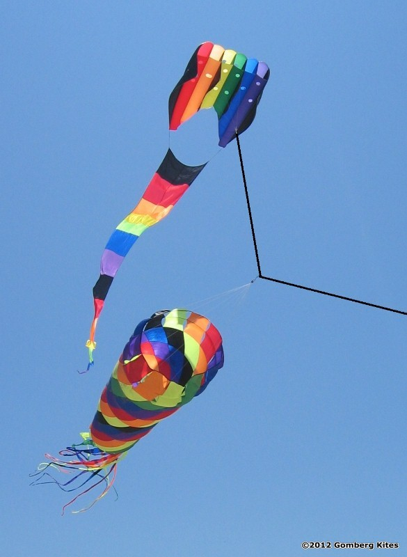 """Rainbow spinner as part of a """"laundry line"""" or line art held aloft by a sled kite."""