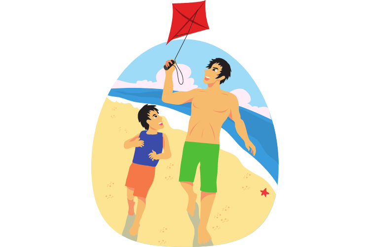 Adult and child flying a kite
