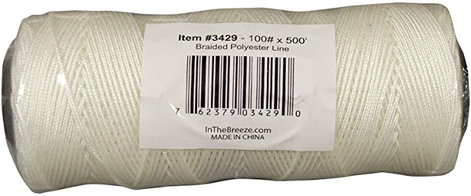 A reel or spool of braided polyester line - 100 pounds load, length of 500'