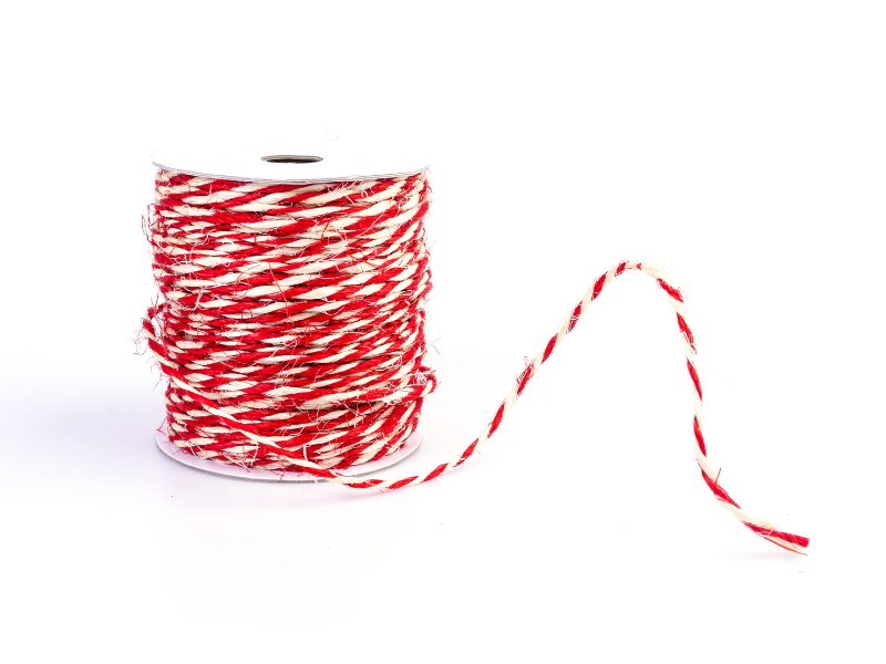 Twisted red and white butcher's twine