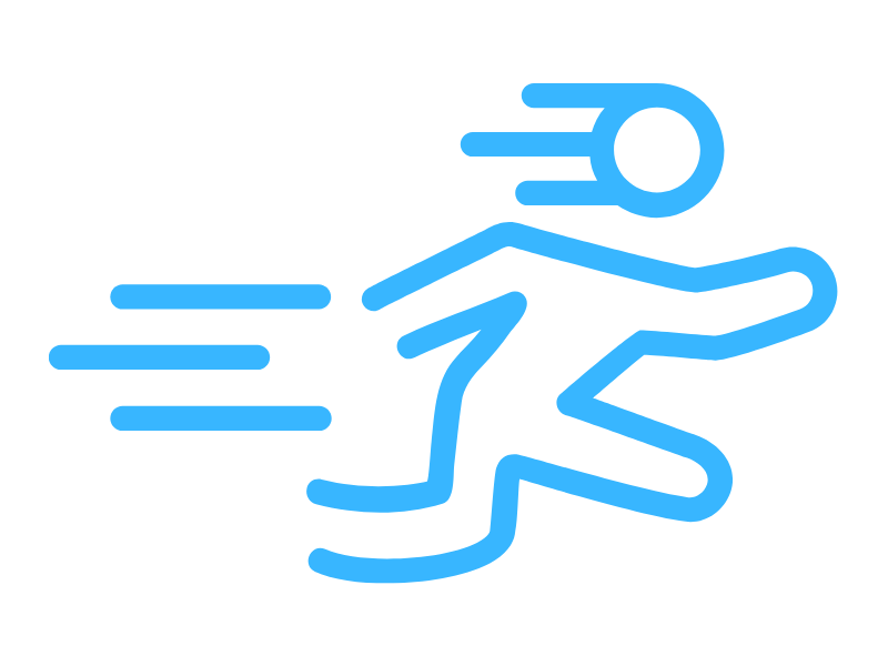 Sketch of person running fast with the typical 'speed lines' behind.