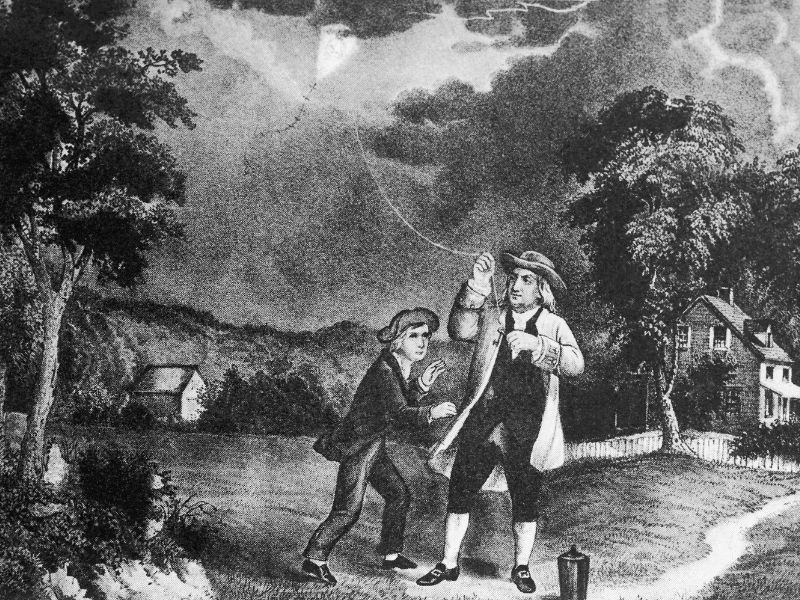 Benjamin Frankling flying a kite in a storm